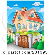 Royalty Free RF Clipart Illustration Of A Home With A Stone Wall Around The Yard