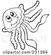 Royalty Free RF Clipart Illustration Of A Coloring Page Outline Of A Happy Squid by visekart