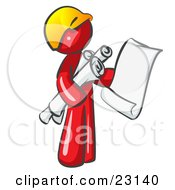 Red Man Contractor Or Architect Holding Rolled Blueprints And Designs And Wearing A Hardhat