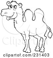 Royalty Free RF Clipart Illustration Of A Coloring Page Outline Of A Camel