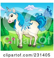 Royalty Free RF Clipart Illustration Of A Blue Haired Unicorn Near A Castle by visekart