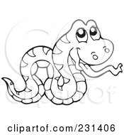 Royalty Free RF Clipart Illustration Of A Coloring Page Outline Of A Snake