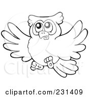Royalty Free RF Clipart Illustration Of A Coloring Page Outline Of A Flying Owl