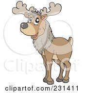 Royalty Free RF Clipart Illustration Of A Wild Reindeer by visekart