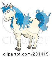 Royalty Free RF Clipart Illustration Of A Blue Haired Unicorn