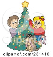 Royalty Free RF Clipart Illustration Of A Dog Watching A Brother And Sister Decorating A Christmas Tree