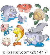 Royalty Free RF Clipart Illustration Of A Digital Collage Of Marine Animals by visekart