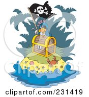 Royalty Free RF Clipart Illustration Of A Parrot Pirate On An Island With Treasure by visekart
