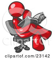 Clipart Illustration Of A Red Man Sitting Cross Legged In A Chair And Reading A Book by Leo Blanchette