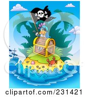 Royalty Free RF Clipart Illustration Of A Pirate Parrot On An Island With Treasure by visekart