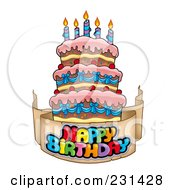 Royalty Free RF Clipart Illustration Of A Happy Birthday Banner Around A Cake With Candles 2