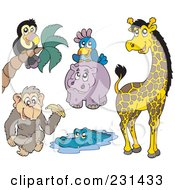 Royalty Free RF Clipart Illustration Of A Digital Collag Eof African Animals by visekart