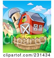 Royalty Free RF Clipart Illustration Of A Silo Granary By A Red Barn 2