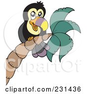 Royalty Free RF Clipart Illustration Of A Friendly Toucan On A Tree by visekart