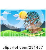 Royalty Free RF Clipart Illustration Of A Fall Tree And Fence In A Meadow