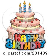 Royalty Free RF Clipart Illustration Of A Happy Birthay Text Over A Cake 1 by visekart