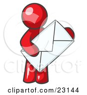 Clipart Illustration Of A Red Person Standing And Holding A Large Envelope Symbolizing Communications And Email by Leo Blanchette