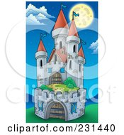 Royalty Free RF Clipart Illustration Of A Fortified Medieval Castle Under A Full Moon