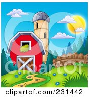 Royalty Free RF Clipart Illustration Of A Silo Granary By A Red Barn 1