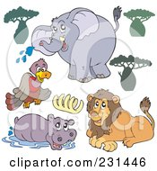 Digital Collage Of Trees A Vulture Elephant Ribs Hippo And Lion