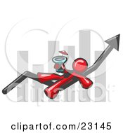Clipart Illustration Of A Red Business Owner Man Relaxing On An Increase Bar And Drinking Finally Taking A Break