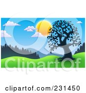 Royalty Free RF Clipart Illustration Of A Silhouetted Tree And Fence In A Meadow