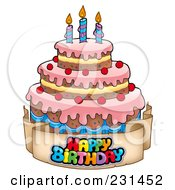 Royalty Free RF Clipart Illustration Of A Happy Birthday Banner Around A Cake With Candles 1