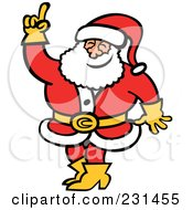 Royalty Free RF Clipart Illustration Of An Opinionated Santa Raising A Finger