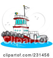 Royalty Free RF Clipart Illustration Of A Red And White Tug Boat At Sea