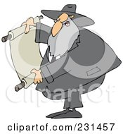 Royalty Free RF Clipart Illustration Of A Rabbi Man Reading A Scroll by djart