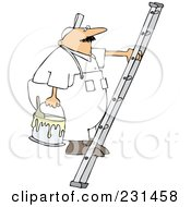 Royalty Free RF Clipart Illustration Of A Worker Man Carrying A Paint Bucket Up A Ladder