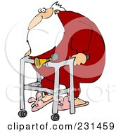 Royalty Free RF Clipart Illustration Of Santa Wearing Bunny Slippers And Using A Walker With A Horn Attached