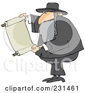 Royalty Free RF Clipart Illustration Of A Rabbi Man Reading A Torah Scroll by djart