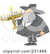 Royalty Free RF Clipart Illustration Of A Rabbi Man Carrying A Menorah