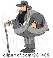 Jewish Man With A Cane And Bible