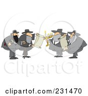 Royalty Free RF Clipart Illustration Of A Rabbi Man With A Cane And Bible by djart