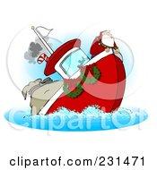 Royalty Free RF Clipart Illustration Of Santa On A Sinking Boat