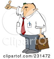 Royalty Free RF Clipart Illustration Of A Businessman Holding A Briefcase And Hitching A Ride To Work