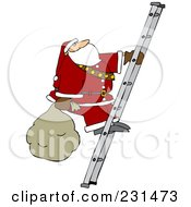 Royalty Free RF Clipart Illustration Of Santa Carrying A Sack Up A Ladder