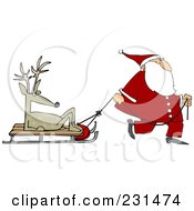 Santa Walking And Pulling A Sled With A Lazy Reindeer