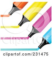 Royalty Free RF Clipart Illustration Of A Digital Collage Of Orange Yellow Pink And Blue Highlighter Markers Drawing Lines by elaineitalia
