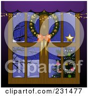 Royalty Free RF Clipart Illustration Of A Christmas Window With A Wreath And View Of A Christmas Tree And Winter Landscape by elaineitalia