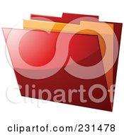 Royalty Free RF Clip Art Illustration Of A Shiny Red And Orange File Folder by elaineitalia