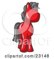 Clipart Illustration Of A Cute Red Pony Horse Looking Out At The Viewer by Leo Blanchette