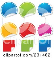 Royalty Free RF Clipart Illustration Of A Digital Collage Of Colorful Round Burst And Square Peeling Stickers by elaineitalia