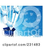 Royalty Free RF Clipart Illustration Of Blue Star Balloons Shooting Out Of A Blue Gift Box On Blue With Snow And Sparkles