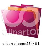 Royalty Free RF Clipart Illustration Of A Shiny Pink And Orange File Folder by elaineitalia