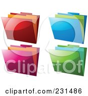 Royalty Free RF Clipart Illustration Of A Digital Collage Of Shiny Colorful File Folders by elaineitalia