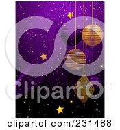 Royalty Free RF Clipart Illustration Of A Golden Stars And Christmas Baubles