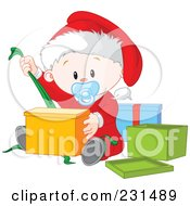 Royalty Free RF Clipart Illustration Of A Cute Baby Boy Opening Christmas Presents
